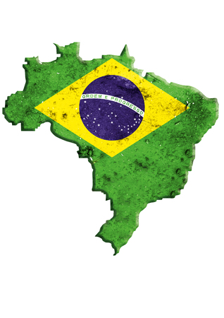federative republic of brazil: Brazil map with national flag. Federative Republic of Brazil border, isolated on white background