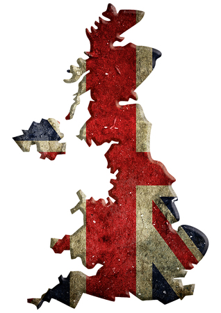 United Kingdom map with national flag. United Kingdom of Great Britain and Northern Ireland and the border, isolated on white background