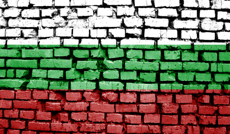 Bulgaria flag on old background retro effect, close up
