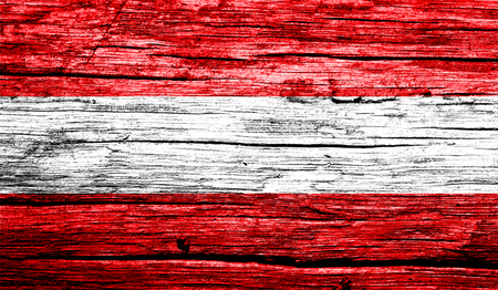 Austria flag on old background retro effect, close up