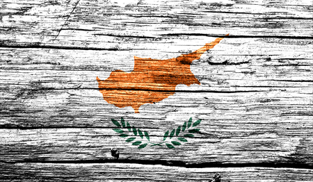 retrospect: Cyprus flag on old background retro effect, close up