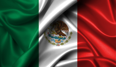 Mexico flag on old background retro effect, close up Stock Photo