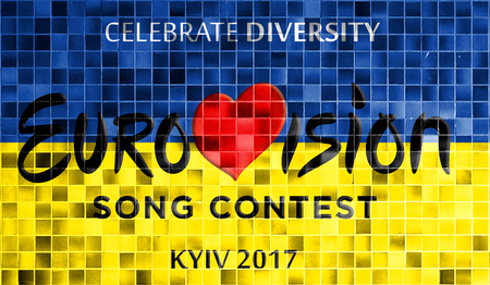 Eurovision Song Contest 2017.Photos banner with the official logo of the Eurovision, Eurovision 2017 in Kiev. Belarus,01 March 2017