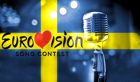 Photos banner with the official logo of the Eurovision Song Contest in the Swedish flag. Belarus,01 March 2017