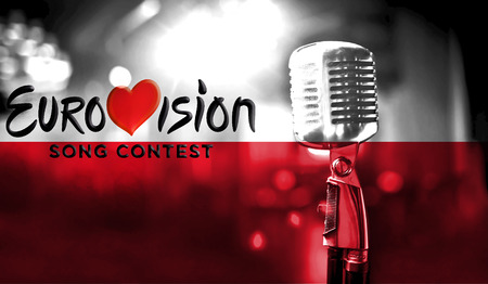 Photos banner with the official logo of the Eurovision Song Contest in the Poland flag. Belarus,01 March 2017 Editorial