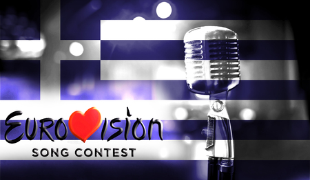 Photos banner with the official logo of the Eurovision Song Contest in the Greece flag. Belarus,01 March 2017