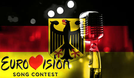 Photos banner with the official logo of the Eurovision Song Contest in the Belgium flag. Belarus,01 March 2017