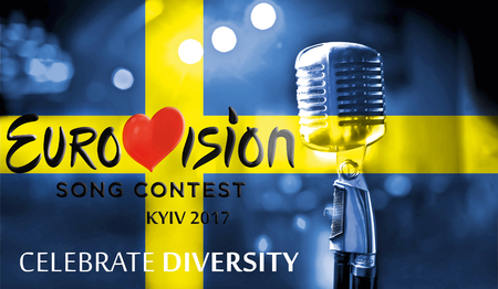 Photos banner with the official logo of the Eurovision Song Contest in the Swedish flag, Eurovision 2017 in Kiev.Belarus,01 March 2017 Editorial