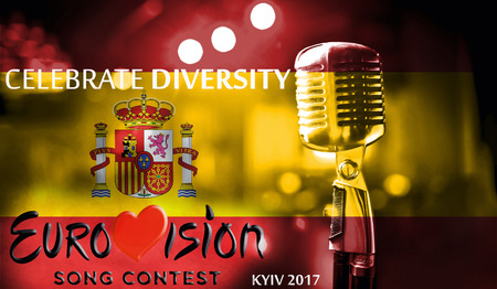 Photos banner with the official logo of the Eurovision Song Contest in the Spain flag, Eurovision 2017 in Kiev.Belarus,01 March 2017