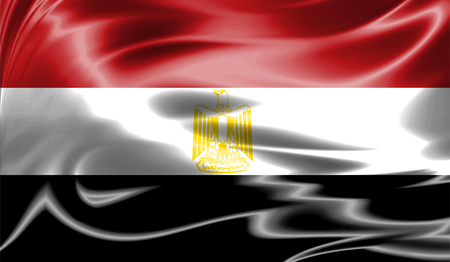 Grunge colorful background, flag of Egypt. Close-up, fluttering downwind Stock Photo