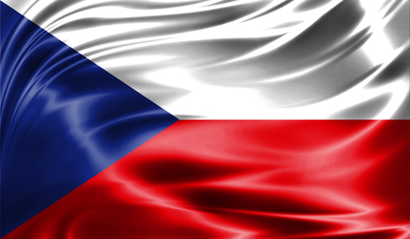 Grunge colorful background, flag of the Czech Republic. Close-up, fluttering downwind Stock Photo