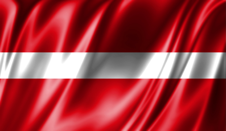 Grunge colorful background, flag of Latvia. Close-up, fluttering downwind