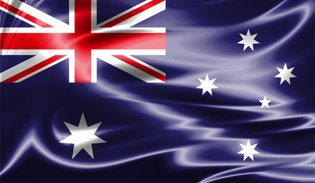 Grunge colorful background, flag of Australia. Close-up, fluttering downwind 版權商用圖片