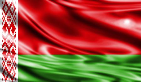 weathered: Grunge colorful background, flag of Belarus. Close-up, fluttering downwind