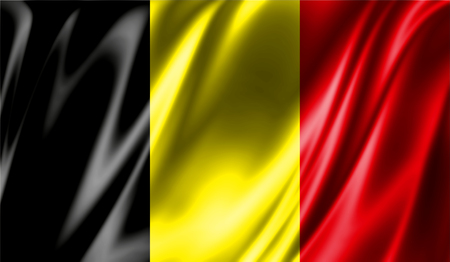 Grunge colorful background, flag of Belgium. Close-up, fluttering downwind