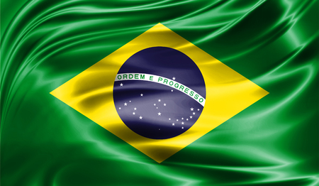 Grunge colorful background, flag of  Brazil. Close-up, fluttering downwind