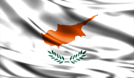 weathered: Grunge colorful background, flag of   Cyprus. Close-up, fluttering downwind