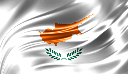 Grunge colorful background, flag of   Cyprus. Close-up, fluttering downwind