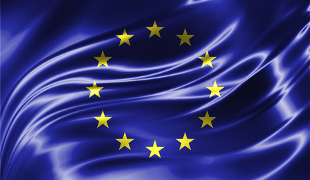 Grunge colorful background, flag of   the European Union. Close-up, fluttering downwind