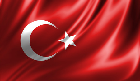 Grunge colorful background, flag of Turkey. Close-up, fluttering downwind