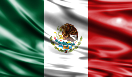 Grunge colorful background, flag of Mexico. Close-up, fluttering downwind