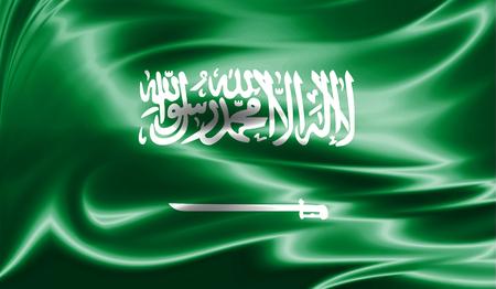 Grunge colorful background, flag of Saudi Arabia. Close-up, fluttering downwind