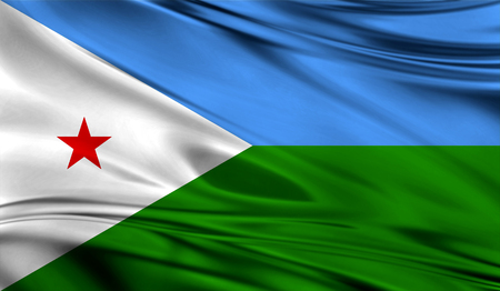 simplex: Realistic flag of Djiboution the wavy surface of fabric. Stock Photo