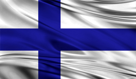 all european flags: Realistic flag of Flag of Finland on the wavy surface of fabric. Stock Photo