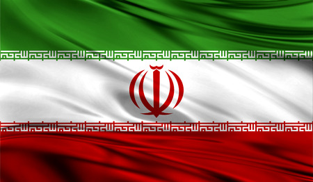 Realistic flag of Flag of Iran on the wavy surface of fabric. This flag can be used in design Stock Photo
