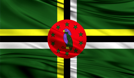 Realistic flag of Dominica on the wavy surface of fabric. Stock Photo