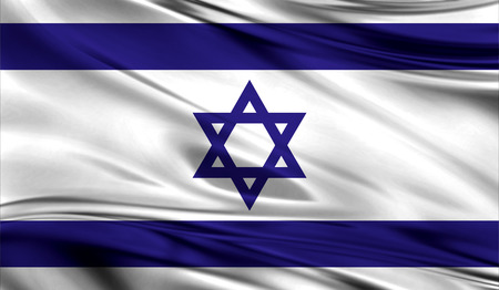 israeli: Realistic flag of Flag of Israel on the wavy surface of fabric. This flag can be used in design