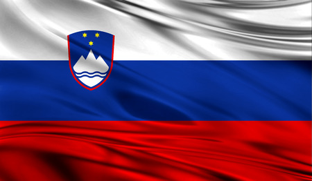 Realistic flag of Flag of Slovenia on the wavy surface of fabric. Stock Photo