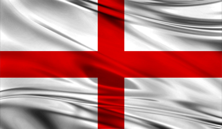 english culture: Realistic flag of Flag of England on the wavy surface of fabric. This flag can be used in design