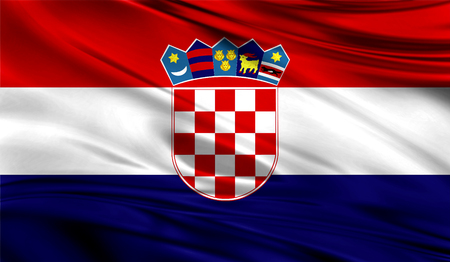 Realistic flag of Croatia on the wavy surface of fabric.