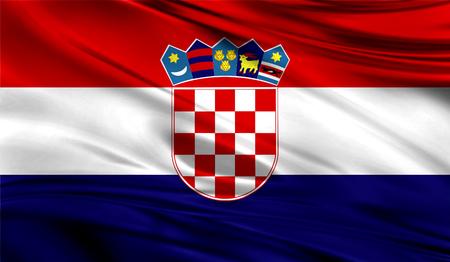 rim: Realistic flag of Croatia on the wavy surface of fabric.