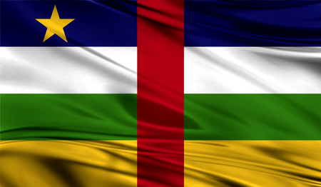 Realistic flag of Central African republic on the wavy surface of fabric. This flag can be used in design