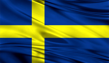 all european flags: Realistic flag of Flag of Sweden on the wavy surface of fabric. This flag can be used in design