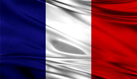 Realistic flag of Flag of France on the wavy surface of fabric. Stock Photo