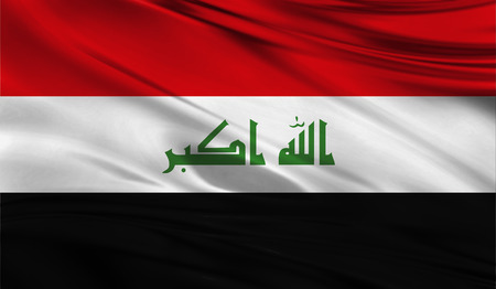 Realistic flag of Flag of Iraq on the wavy surface of fabric. This flag can be used in design