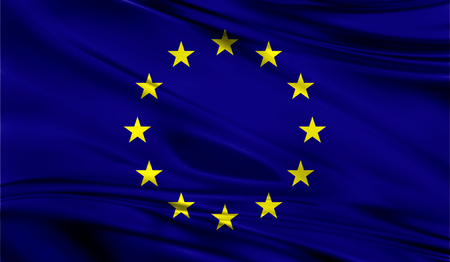 Realistic flag of Flag of European Union on the wavy surface of fabric. Stock Photo