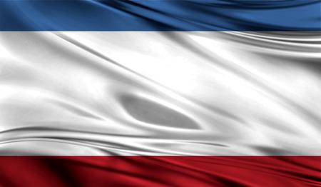 Bandera realista de Crimea en la superficie ondulada de la tela. Foto de archivo - 81504732
