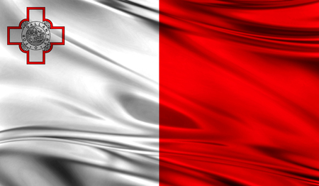 Realistic flag of Malta on the wavy surface of fabric.