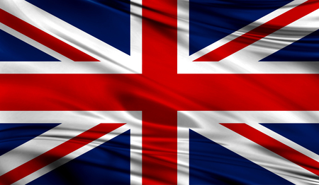 Realistic flag of Flag of United Kingdom on the wavy surface of fabric.
