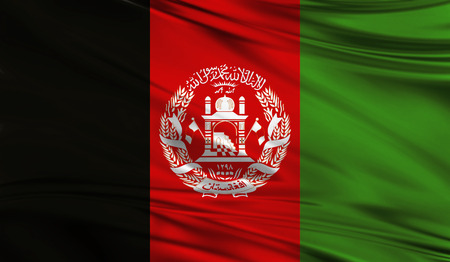 Realistic flag of Flag of Afghanistan on the wavy surface of fabric. This flag can be used in design Stock Photo