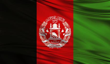 Realistische vlag van de vlag van Afghanistan op het golvende oppervlak van de stof. Deze vlag kan worden gebruikt in ontwerp