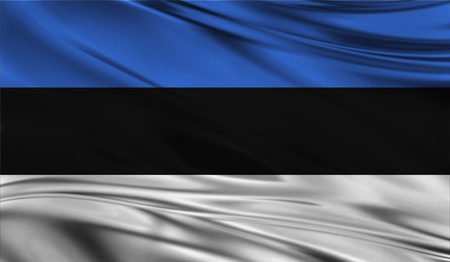 emblem of ukraine: Realistic flag of Flag of Estonia on the wavy surface of fabric. Stock Photo
