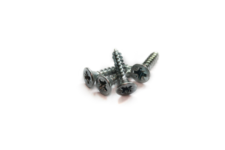Screws isolated on white background. Stock Photo