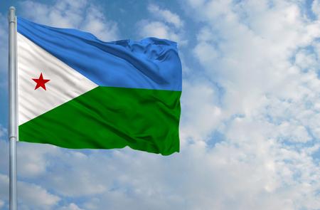 Nationale vlag van Djibouti op een vlaggestok voor blauwe hemel.