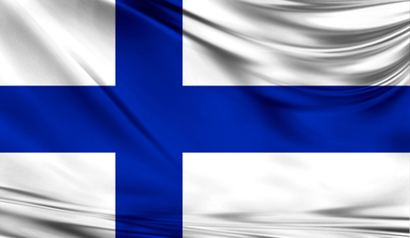 Realistic flag of Finland on the wavy surface of fabric. This flag can be used in design