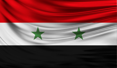 middle: Realistic flag of Syria on the wavy surface of fabric. This flag can be used in design